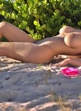 Busty girl in pink bikini on the beach