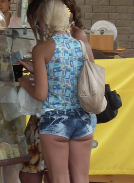 Sexy candid asses in tight shorts and mini skirts