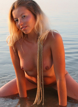 Swimming puffy nipples blonde naturist