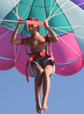 Puffy nipples naturist is high in the sky in big baloon