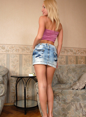 Glamour blonde smoker in jeans skirt has string panties cameltoe