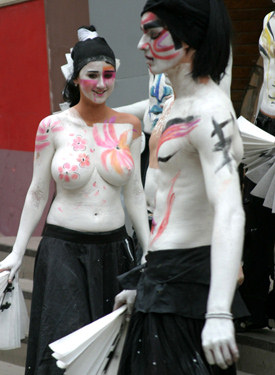 Busty topless beauties are on the street from public bodyart festival